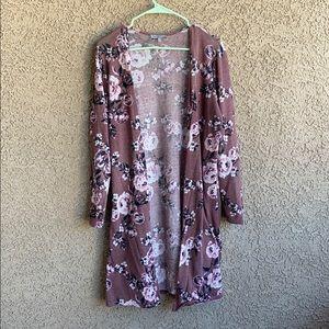 Long floral cardigan